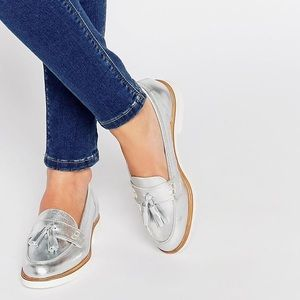 Kurt Geiger silver loafers size 37 (6.5 US)
